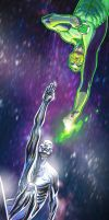 Silver Surfer VS. Green Lantern by ADAMshoots