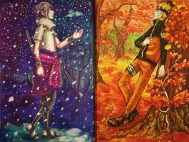 Winter and Autumn by Luska-chan