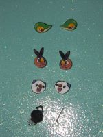 Unova Starters Earrings by kouweechi