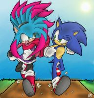 Bex the 'hog vs Sonic the 'hog by Chicaaaaa