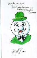 Sam the Snowman Christmas Card by johnnyism