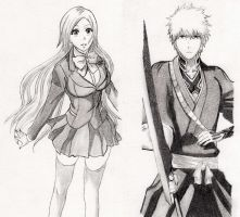 Ichigo and Orihime XD by kiraDaidohji