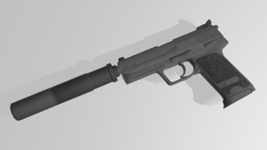 [MMD] Automatic handgun + silencer  (DL Link) by Riveda1972