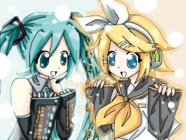 Vocaloid: Miku and Rin by SatoshiLuver