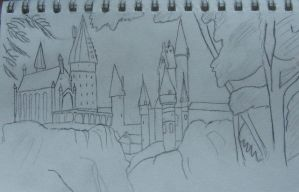 Hogwarts from the Forest by kingofthe3lves