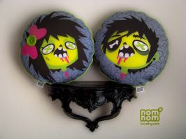 Zombie Lady and Dude Pillows by junkyard-king