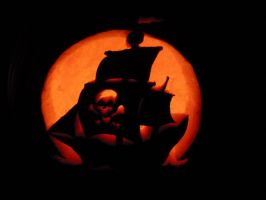 Pirate Ship Pumpkin Carving by MoonlightOrchids