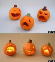 Needle felted Jack-o'-lanterns by creturfetur