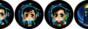 Doctor Who - badges by Momiji95