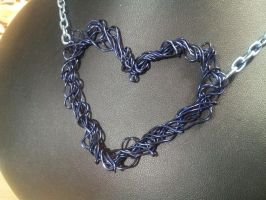 Blue Wire Heart by BacktoEarthCreations