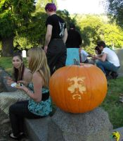 Jesus Pumpkin in cemetery by longleather