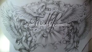 Religious Breast tattoo design with angels by tattoosuzette