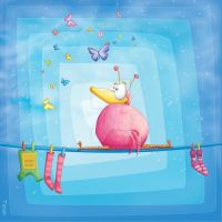 Kids room blue trilogy: birdy by Tooshtoosh