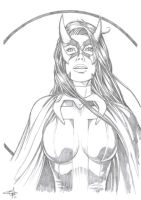 Huntress Con Sketch by Carl-Riley-Art