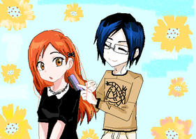 Orihime and Uryu by bubbamax1990