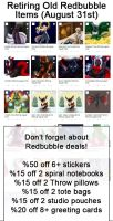 Retiring Old RedBubble Merch - Final sales Aug 31s by Temrin