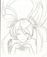 Hatsune Miku [Sketch] by YerBestFriend99