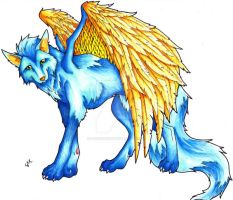 Wolf with Wings colored by iluv2rock99