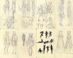 Princess Deerskin Concept Sketches by raevynewings