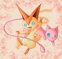 Mew and Victini by KoiGirlie