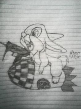 Rabbit sitting on a missile with an uzi by HappyThreeCheers