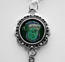 Hand Painted Slytherin crest pendant Necklace by LunaAshley
