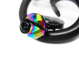Rainbow and Black Spiral Ring by pila12903