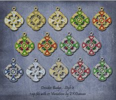 21 Variations of Dresden Badge Ornament - Style 2 by EveyD