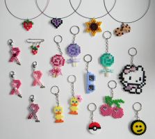 Beads necklaces and keychains by JadeDragonne