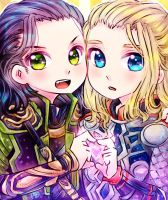 Loki chan and Thor chan by ibahibut