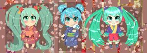 Three more mini Mikus by Cherubii