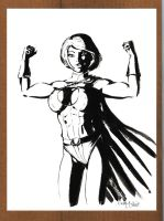 Powergirl Black and White 082812 by ChrisMcJunkin