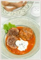 Meatballs in sauce dish by shatinn