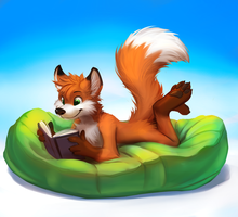 Enjoying a book - Drawn by thanshuhai by Hukley