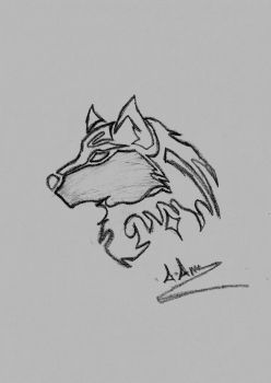 Tribal Wolf Sketch by Pixetomics