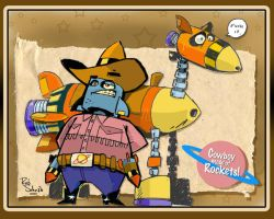 Cowboy made of Rockets by Rob-Schrab