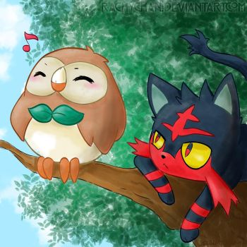 Rowlet and Litten by RachyChan