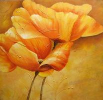 Hand-painted Flower Oil Painting by Susandelfinos