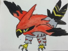Pokemon X and Y: Talonflame Watercolor by Brawl483