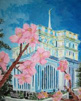 Cherries Bloom at Hong Kong LDS Temple by Ridesfire