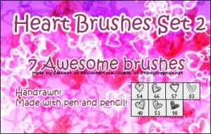 Photoshop Heart Brushes Set 2 by d4rkest