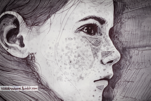 girl with freckles by yanayank