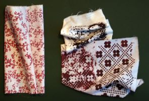 fabric print with stamps by dovespirit