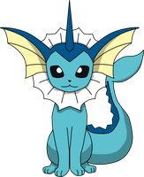 Vaporeon Sitting PNG by ProteusIII