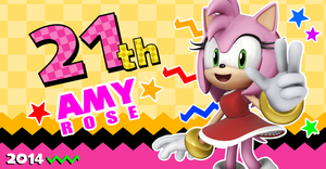 Amy Rose 21th Anniversary Wallpaper by NuryRush