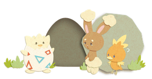 Bunny, chick and Easter egg by Eledora
