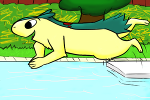 Typhlosion swim by iluky