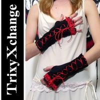 TX Red Laced Corset Gloves by TrixyXchange