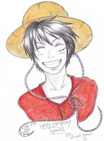 Luffy Real Smile (Gift For Brook91 Birthday) by Hitomi-Jchan