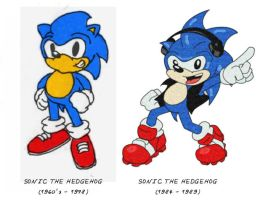 60s to 80s Sonic by spydaman